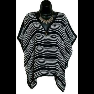 NWOT Talbots Silk Chiffon V Neck Poncho Sheer S/M